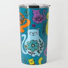 Cat Nap - Colorful floral Cats Travel Mug