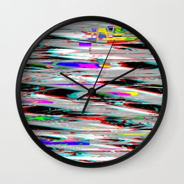 Glitch effect psychedelic background Wall Clock