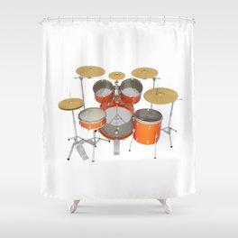 Orange Drum Kit Shower Curtain