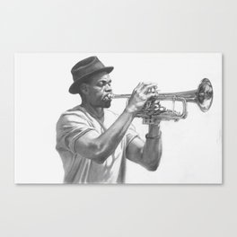 Trumpet Player (graphite) Canvas Print