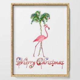 Merry Christmas Pink Flamingo Beach Xmas Serving Tray