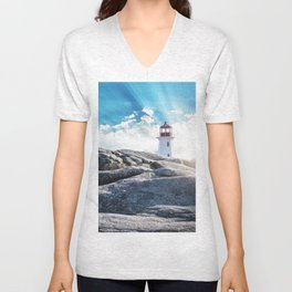 Peggy's Cove lighthead in halifax Unisex V-Neck