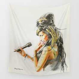Winehouse Portrait 2 Wall Tapestry