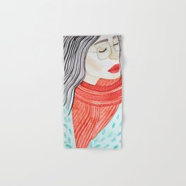 Beautiful lady with closed eyes in a red scarf wearing eyeglasses. Watercolor illustration. Hand & Bath Towel