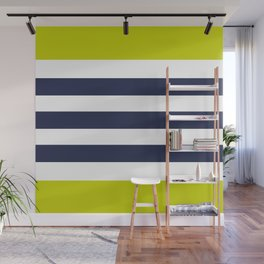 Modern Classy Navy Blue Lime Green STRIPES Wall Mural