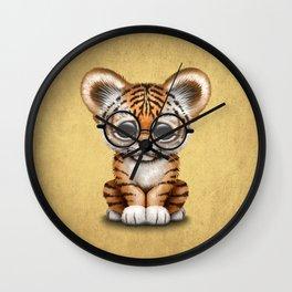 Cute Baby Tiger Cub Wearing Eye Glasses on Yellow Wall Clock
