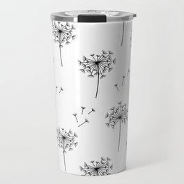 Dandelions in Black Travel Mug