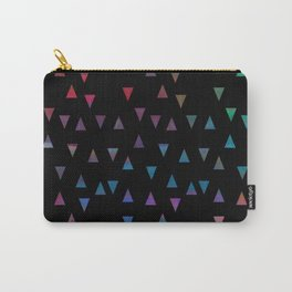 Colorful triangles on black background Carry-All Pouch