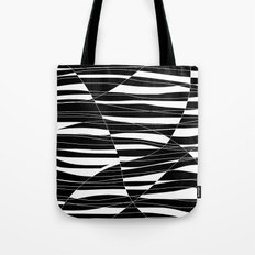 Carved Black and White Wave Tote Bag
