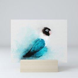 Masked Lovebird, Black-masked Lovebird, Collared Lovebird (Agapornis personatus)  Blue Parrot Bird Mini Art Print