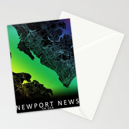 Newport News, VA, USA, City, Map, Rainbow, Map, Art, Print Stationery Cards