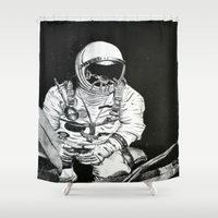 spaceman Shower Curtains featuring Spaceman by Bri Jacobs