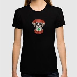 Cute Puppy Dog with flag of Lebanon T-shirt