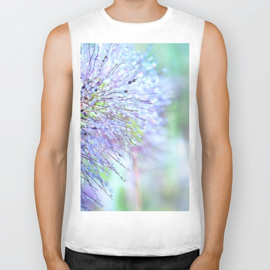 raindrops on grass Biker Tank