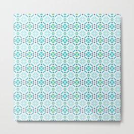 Floral Mosaic Turquoise Pattern Metal Print