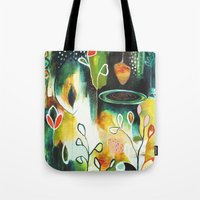 "flora bowley Tote Bags featuring ""Deep Growth"" Original Painting by Flora Bowley by Flora Bowley"