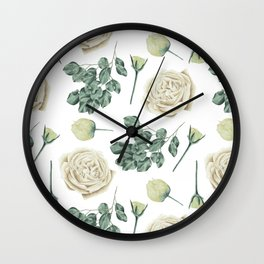 Flower Shop Ivory Cream Roses Pattern Wall Clock
