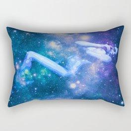 Blue Galaxy Woman : Nude Art Rectangular Pillow
