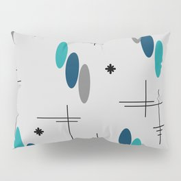 Ovals and Starbursts Teal Pillow Sham