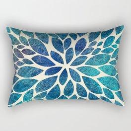 Petal Burst - Turquoise Rectangular Pillow