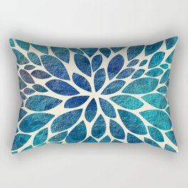 Petal Burst - Turquoise Rectangular Pillow