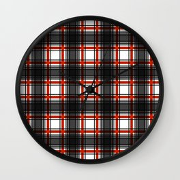 Black and Red Plaid Pattern Wall Clock