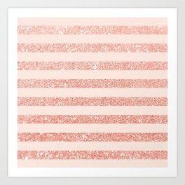 Rose Gold and Glitter Stripes Art Print