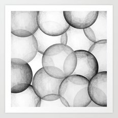 PLAYFUL BLACK AND WHITE SPHERES Art Print