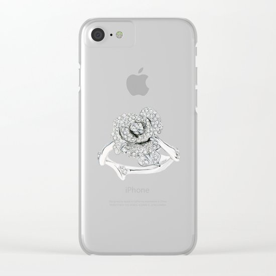 Silver Rose Ring Clear iPhone Case