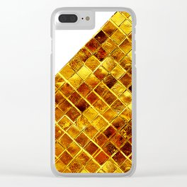 Gold Cube Texture Clear iPhone Case
