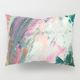 Meditate [2]: a vibrant, colorful abstract piece in bright green, teal, pink, orange, and white Pillow Sham