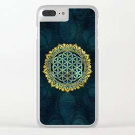Flower of life gold an blue texture  glass Clear iPhone Case