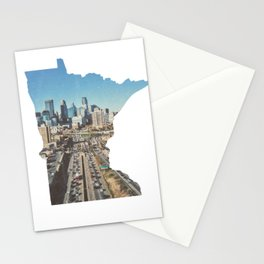 Minneapolis Minneosta State Outline Stationery Cards