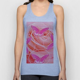 REDDISH PINK ROSES & PURPLE-PINK  BUTTERFLIES MODERN ART Unisex Tank Top