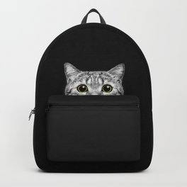 Curious Cat Peeking, Sneaky Kitty, Kitty Photography, Cat, Cats Backpack