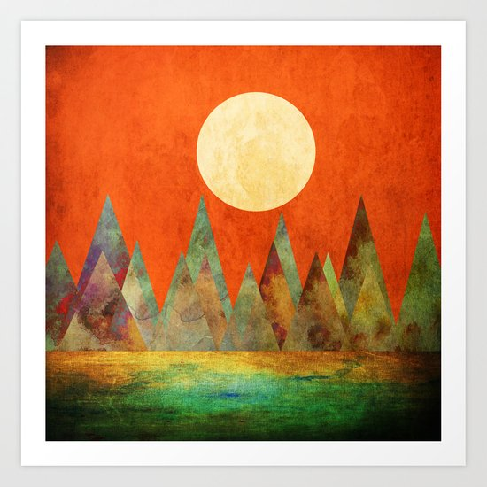 Many Moons Ago, Abstract Landscape Art Art Print