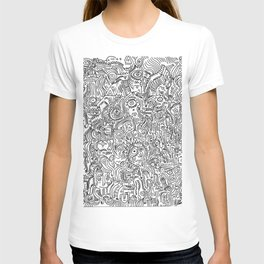 Primitive Art in Black and white pattern T-shirt