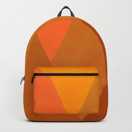 Modern Warming Abstract Geometric Mountains Landscape with Rising Sun in Hot Autumnal Ochre Colors Backpack