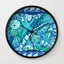 She Sells Sea Shells Blue Wall Clock