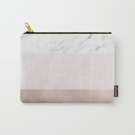Pastel striping - rose gold marble Carry-All Pouch