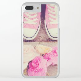 English Roses And Pink Chucks Clear iPhone Case