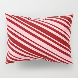 Pink & Dark Red Colored Striped/Lined Pattern Pillow Sham