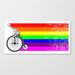 Giraffe riding a bike lgbq Canvas Print