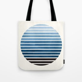 Green Blue Mid Century Modern Minimalist Scandinavian Colorful Stripes Geometric Pattern Round Circl Tote Bag