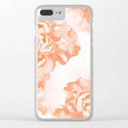 Living Coral Peony Flowers White Background #decor #society6 #buyart Clear iPhone Case
