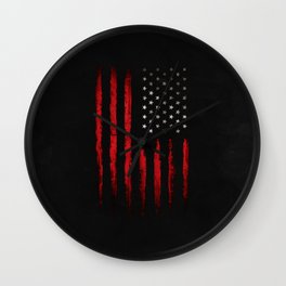American flag Red and Black grunge Wall Clock