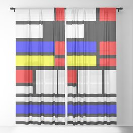 Cubism Painting Art Retro Pattern Sheer Curtain