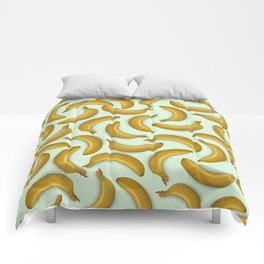 Fruit pattern. Background from bananas with realistic shadows Comforters