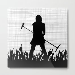 Girl With Microphone Metal Print