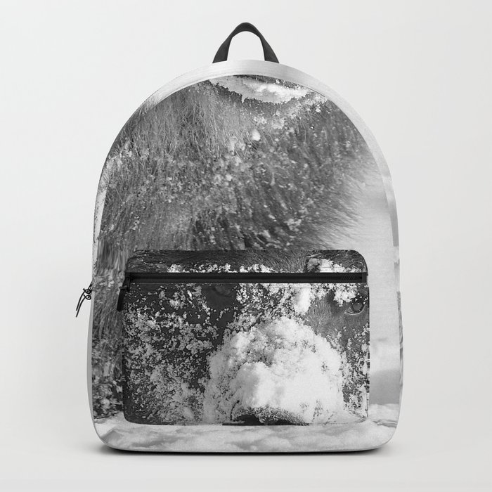 Alaskan Grizzly Bear in Snow, B & W - 3 Backpack